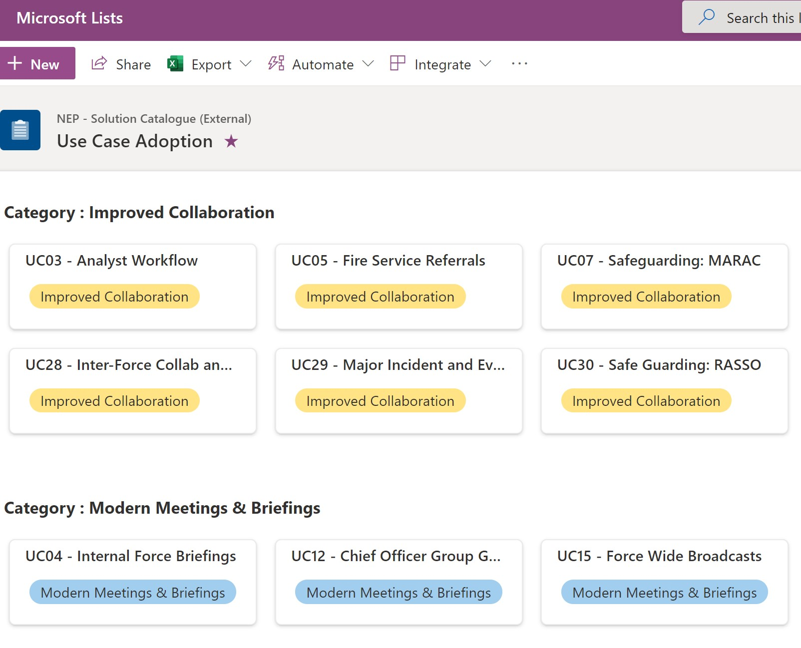 Image of an example SharePoint List Click to open the webinar