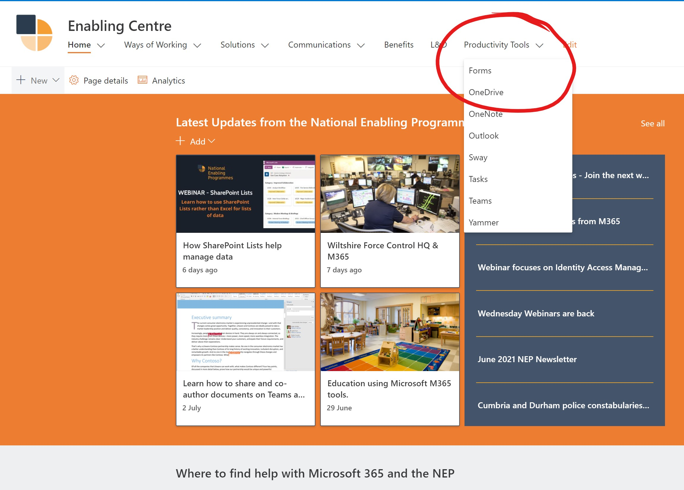 Screenshot of the NEP Enabling Centre with the Productivity Suite Highlighted