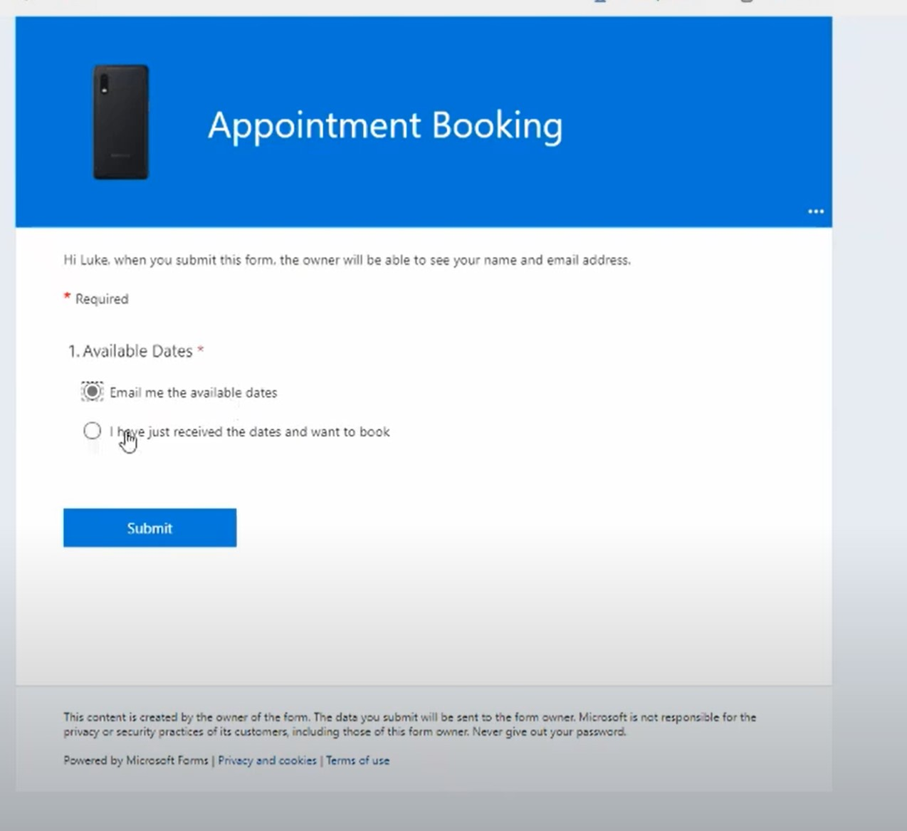 Screenshot of Appointment booking app