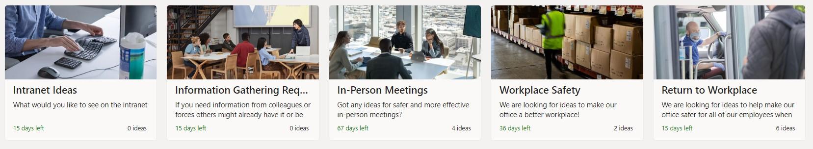 Screenshot of Employee ideas