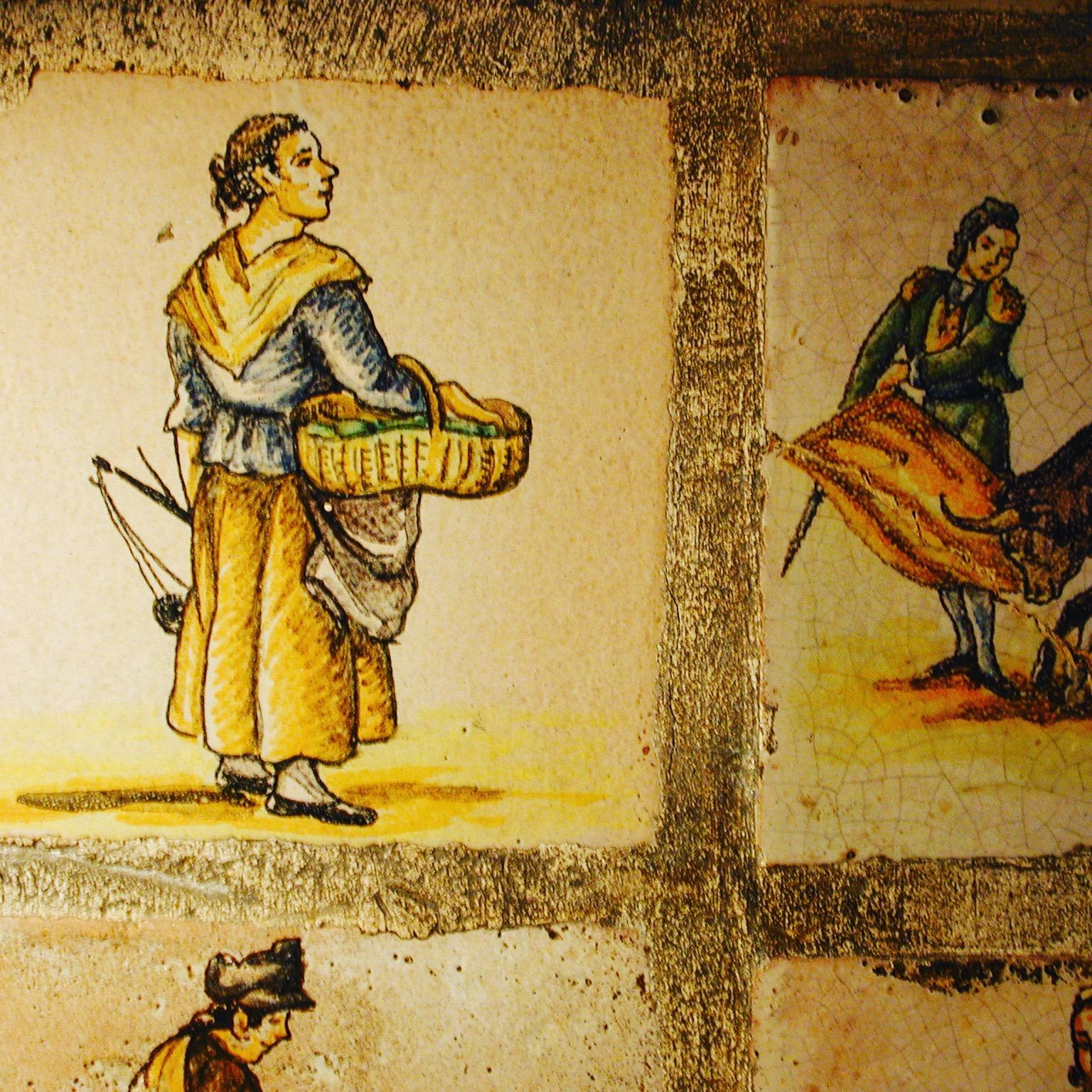 Spanische Fliesen aus dem 18. Jahrhundert, die das Kunsthandwerk darstellen