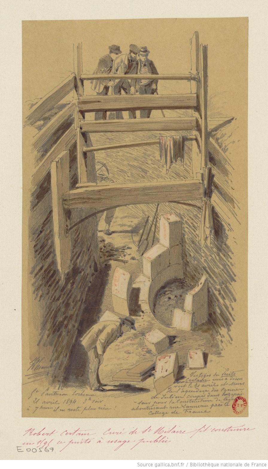 Zeichnung, die den Brunnen Certain darstellt, 19. Jahrhundert.