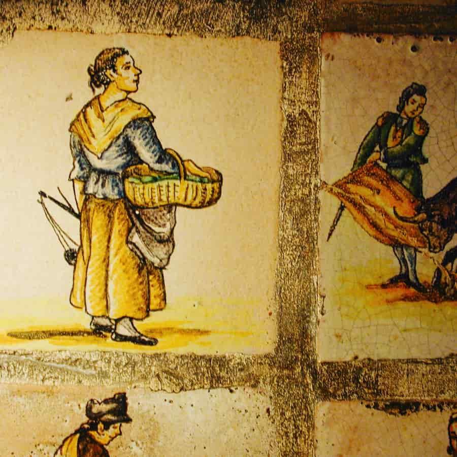 Carreaux espagnols  du XVIIIe siècle représentant des métiers