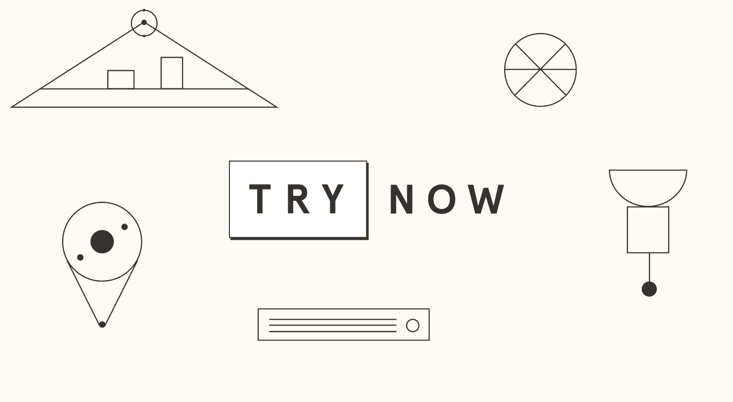Try now logo and abstract line illustrations