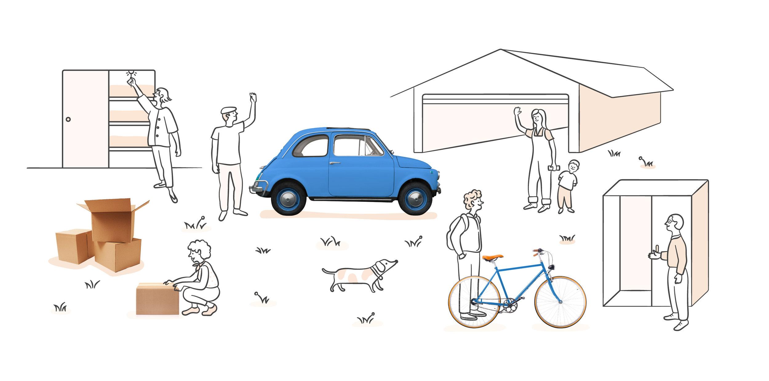 Illustration of neighbors waving to eachother
