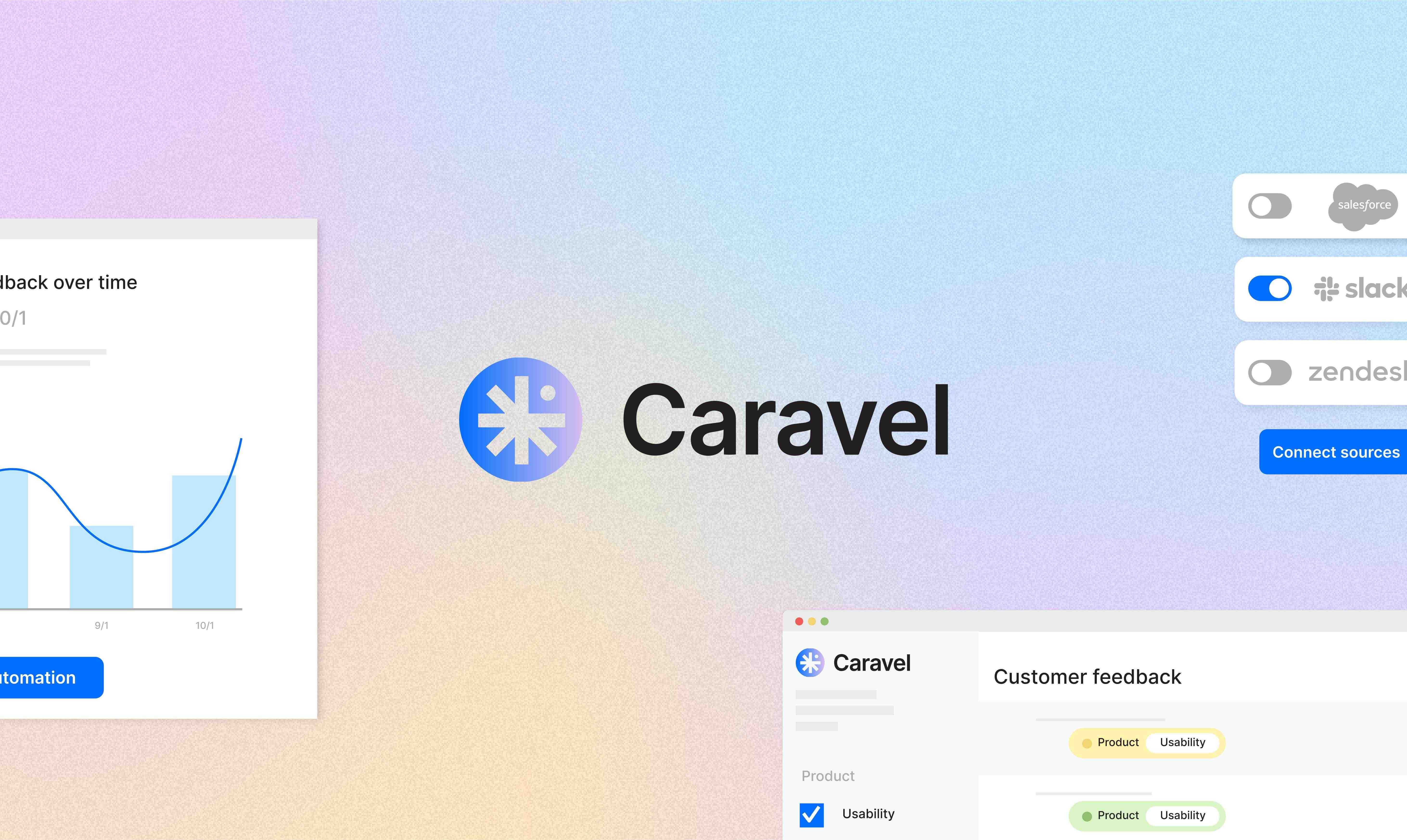 Caravel logo with UI and gradient in background