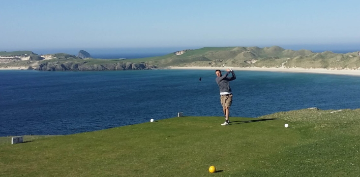 Who we are - teeing off at Durness.