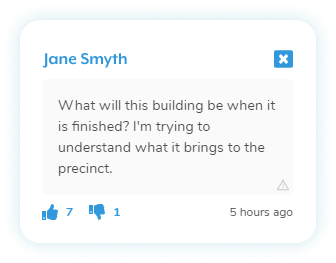 A comment from a person in the community about a building development project