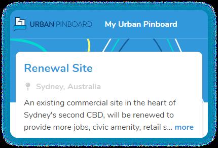 A screen grab of the Urban Pinboard dashboard