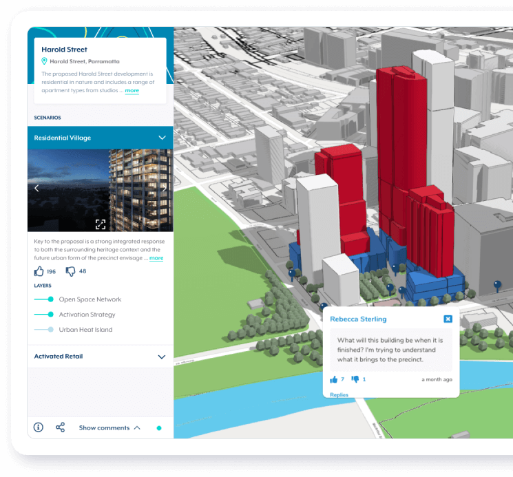 Urban Pinboard user interface showing community comments on a map