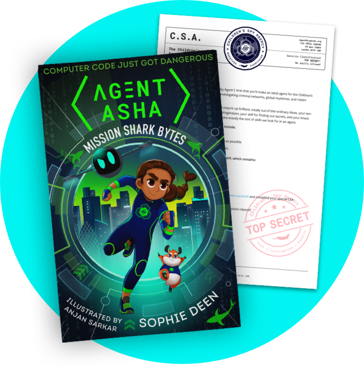 Agent Asha book with Children's Spy Agency invitation letter