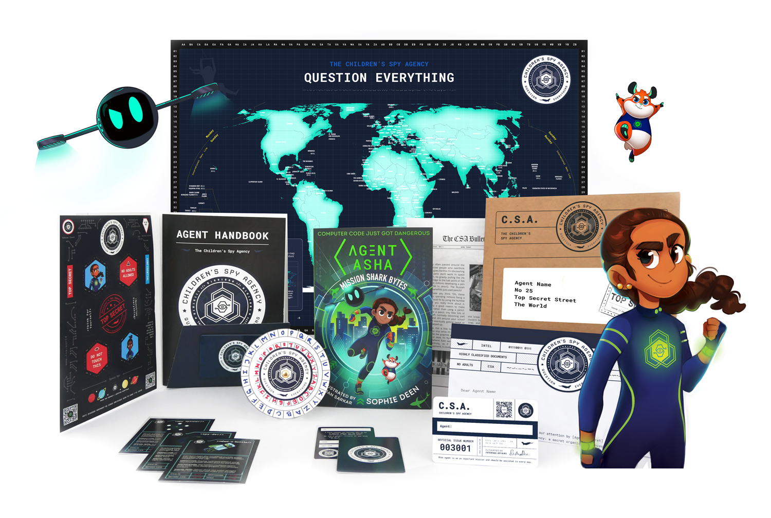 Agent Asha gift pack content