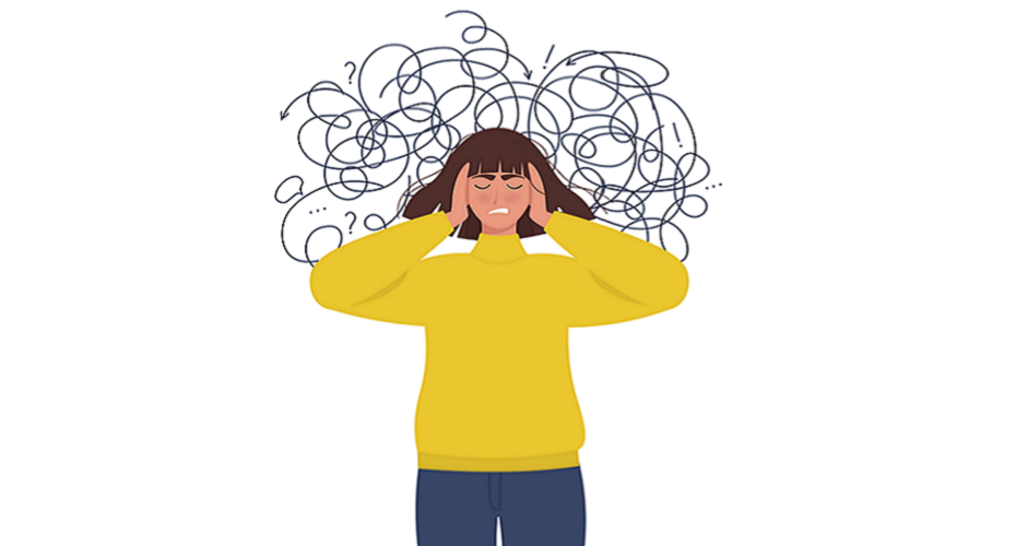 A cartoon woman holds her head in frustration as a mess of loops and lines surround her head showing confusing.