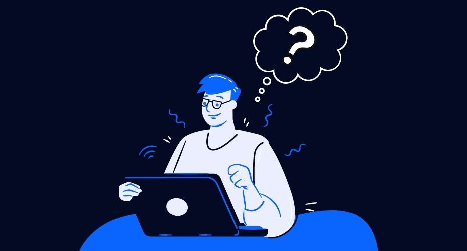 A cartoon person does research on a laptop.