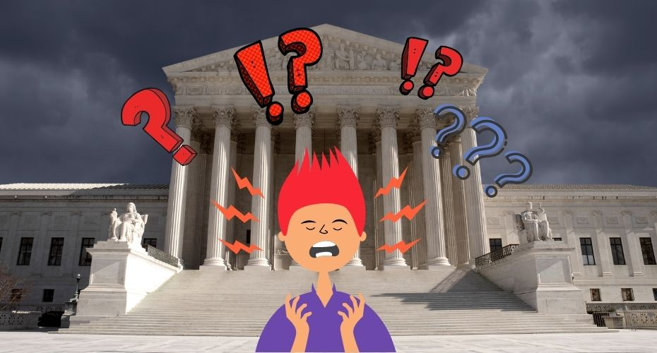 A cartoon person looking exasperated stands in front of a court house as question marks, exclamation marks, and lightning bolts emanate from them.