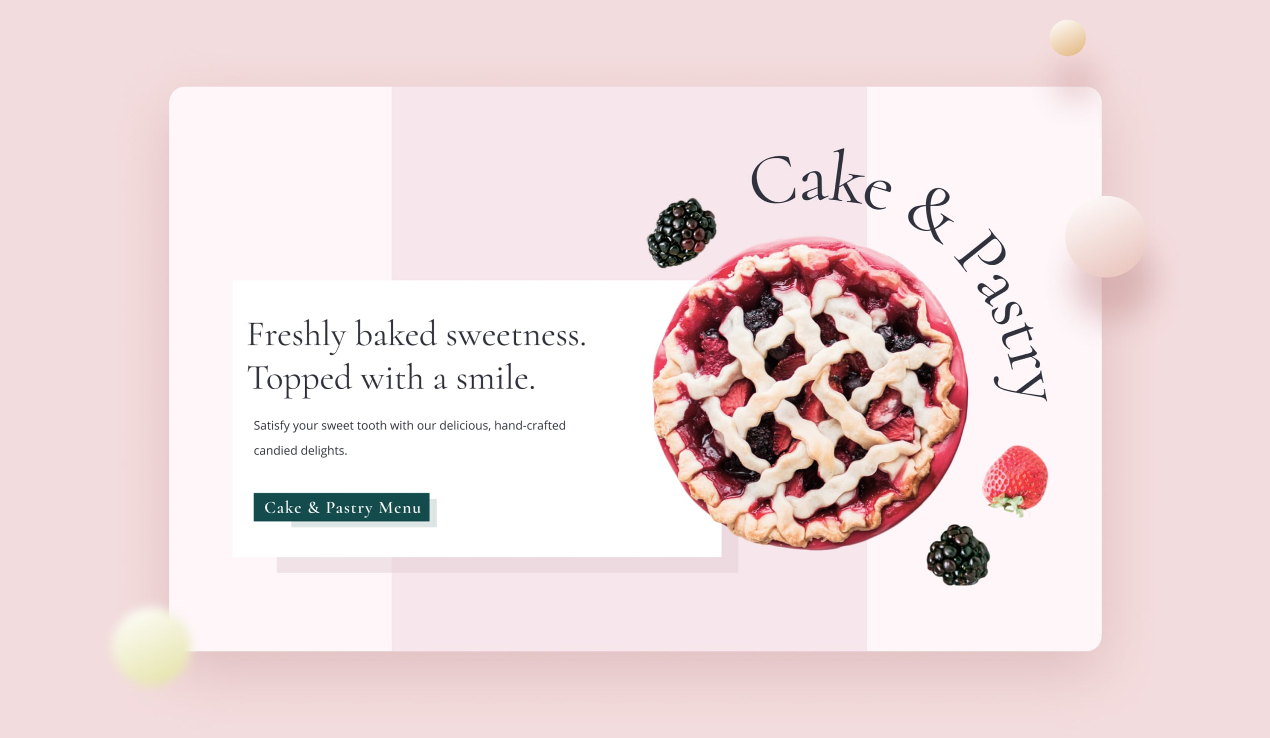 A previed of a cake & pastry menu with a blueberry pie.