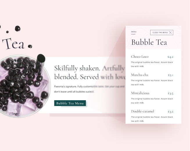 A preview of a bubble tea menu with prices present.