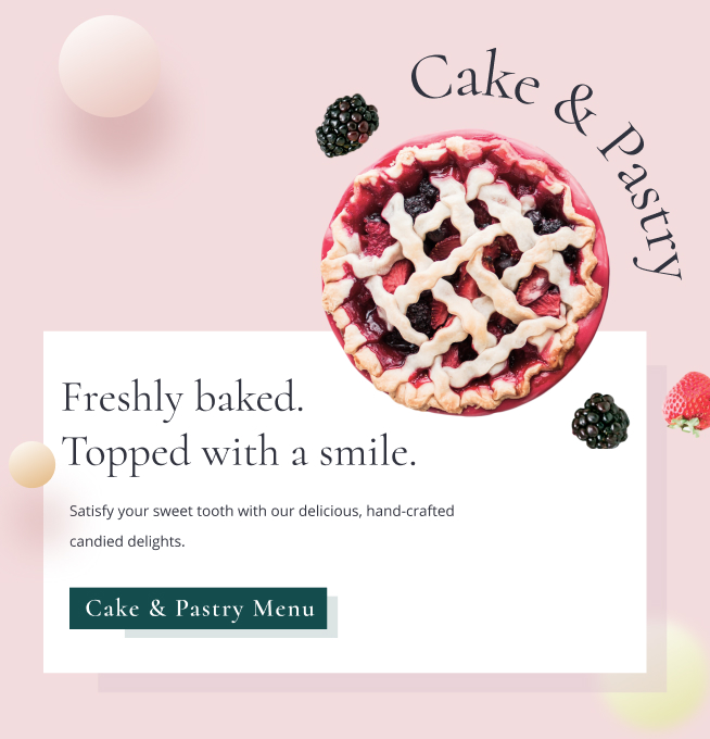 A preview of a cake & pastry menu with a blueberry pie.