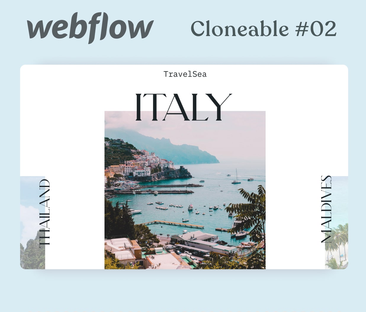 A mockup od a webpage with a slider with travel destinations