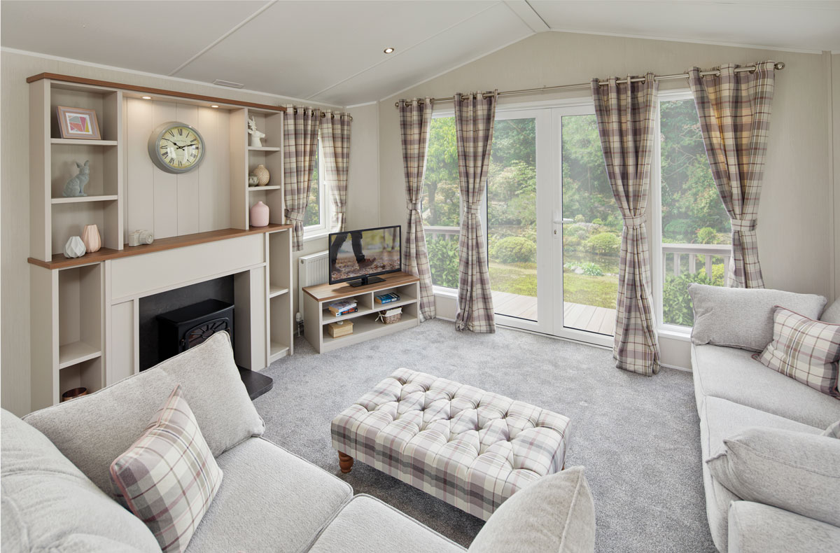 The spacious interior of one of the latest caravan models