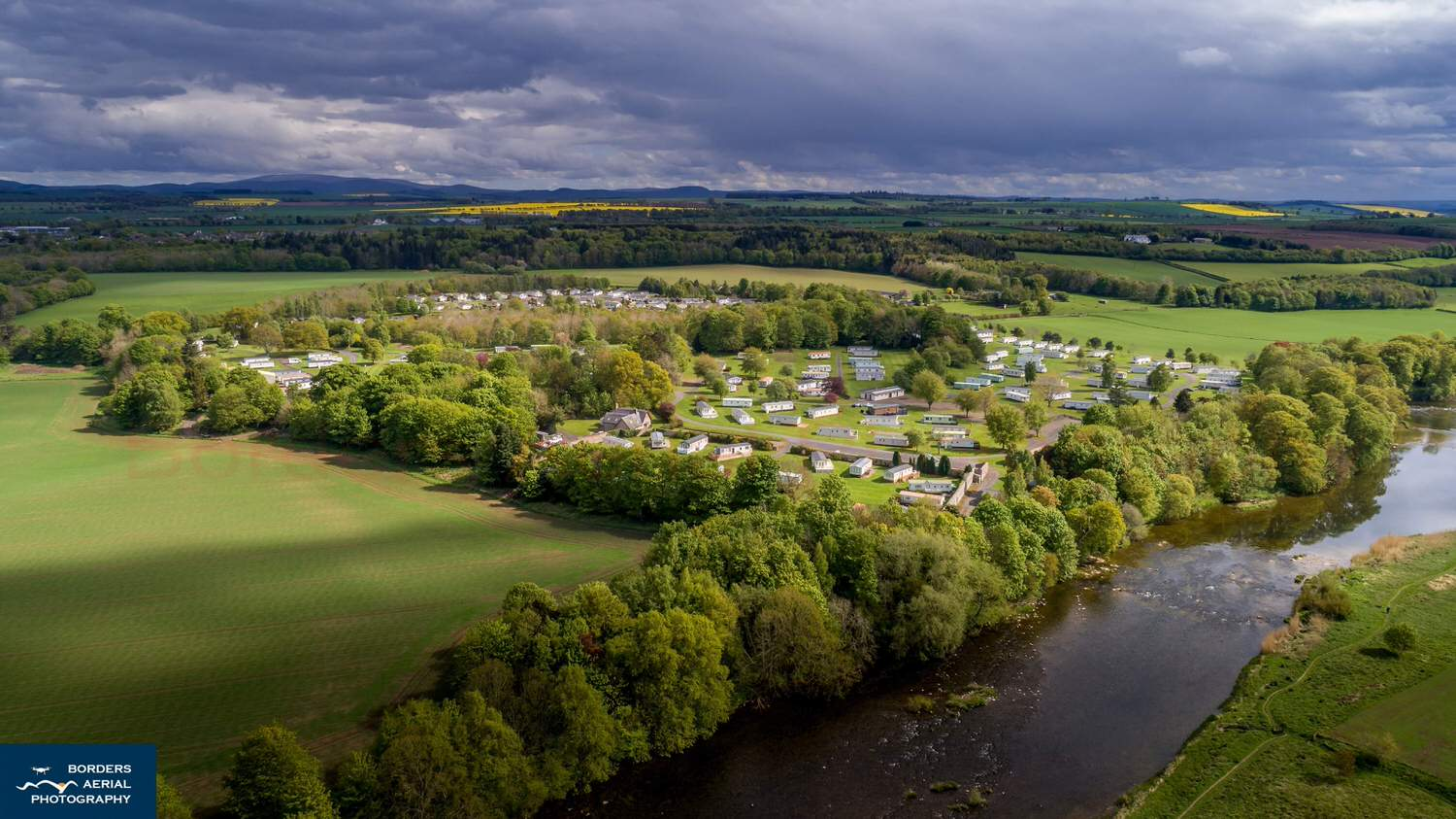 Springwood estate from the air showing the estate and the river teviot