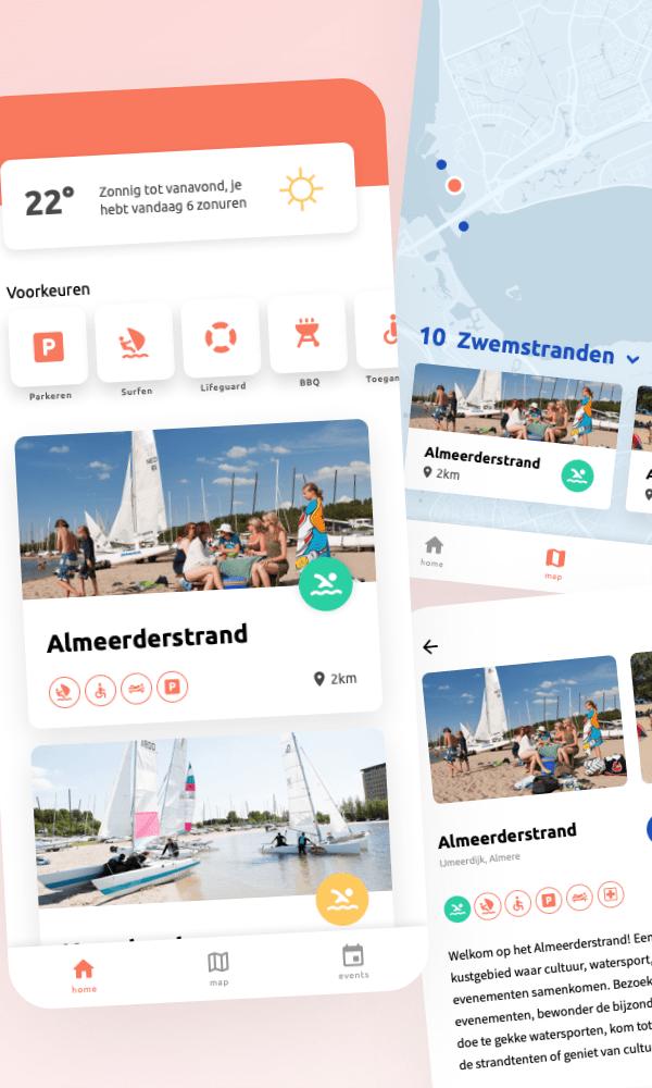 Twee screenshots van een strand app concept voor de stad Almere.