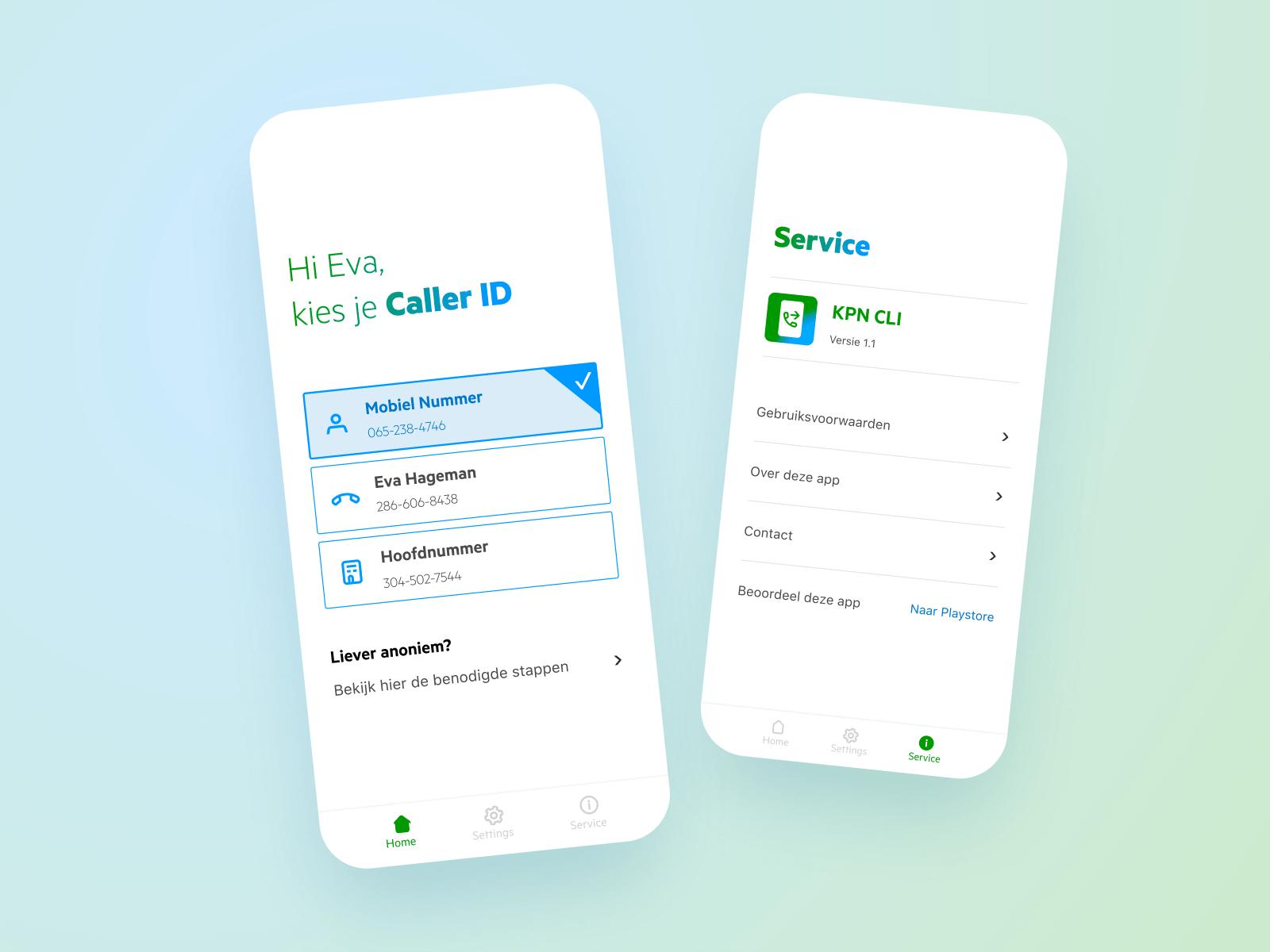 2 screenshots in een beeld van de KPN Flexibele Nummerweergave app.