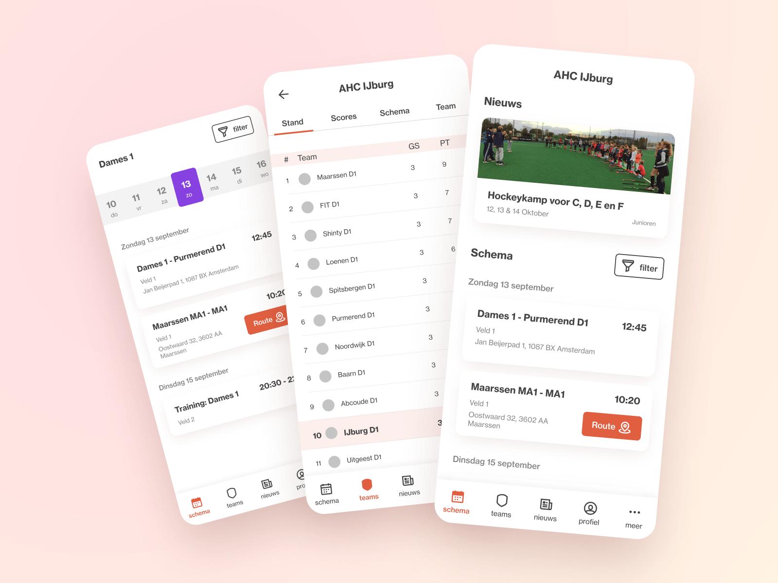 3 screenshots in een beeld van mijn redesign van de AHC IJburg app.