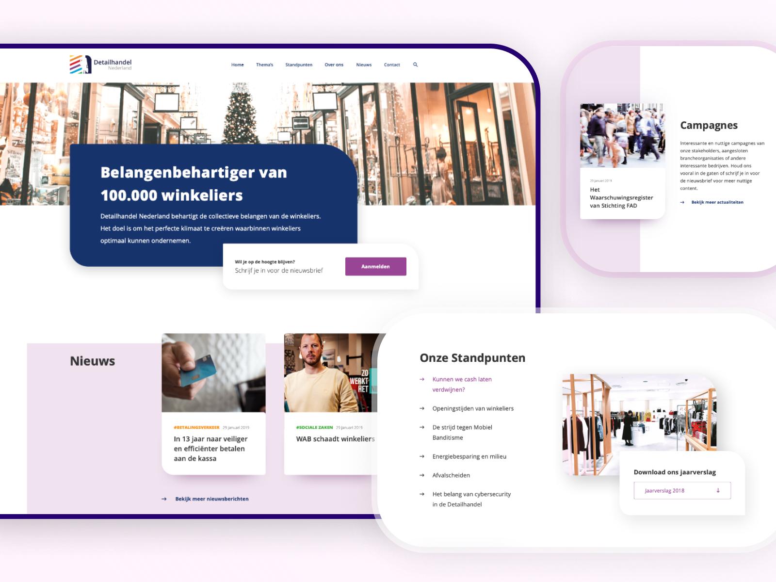 3 screenshots samen in een beeld van de website voor Detailhandel Nederland.