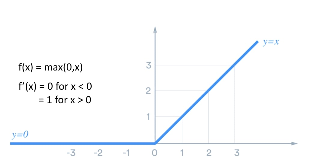 the activation function is 0 for negative values and has a slope of 1 for all positive values