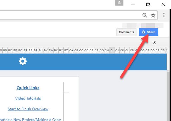 Google Sheets Share Button