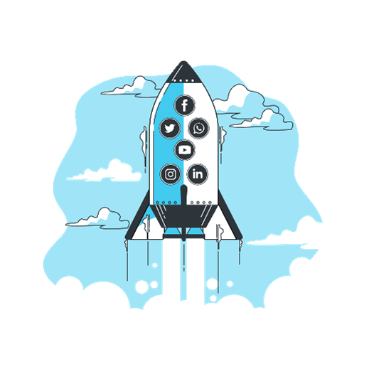 Graphic of rocket lifting off with social media icons