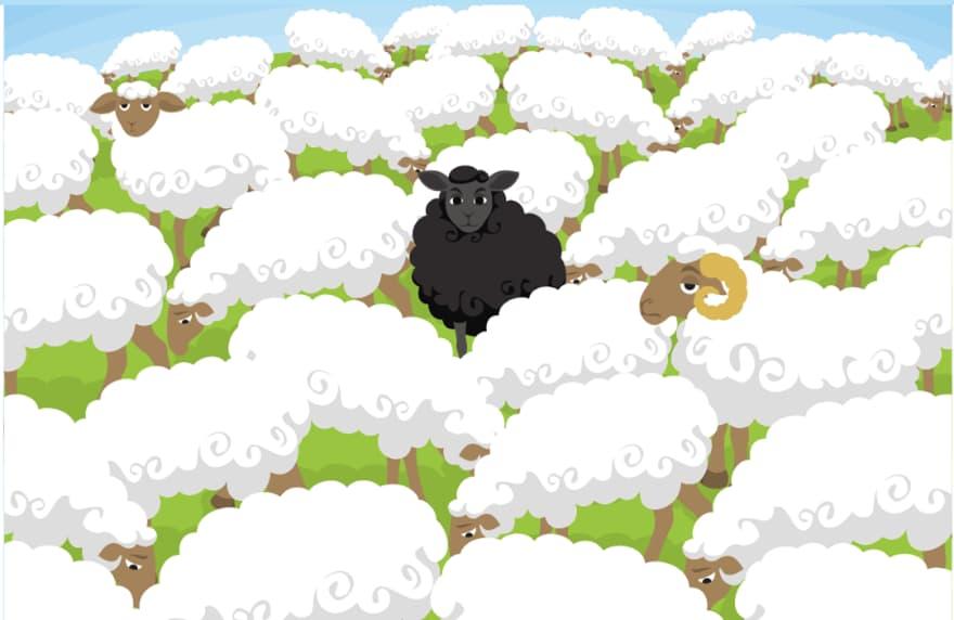 Graphic of black sheep amongs flock of white sheep