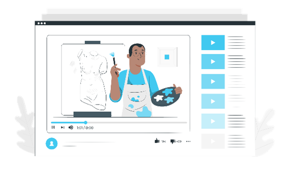 graphic of online tutorial in video marketing