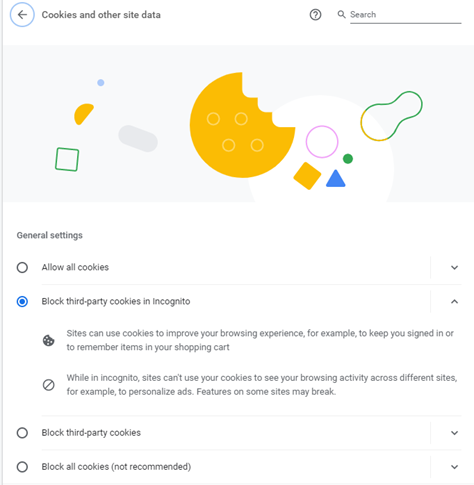 Screen gran of Chrome setting where users can opt our of third-party cookies