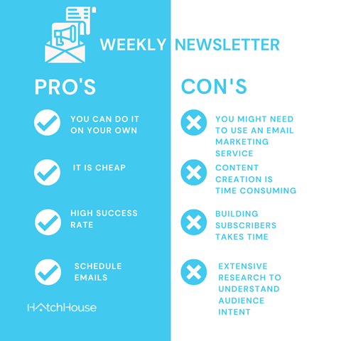 Weekly newsletter pros cons