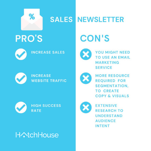 pros and cons of sales newsletter