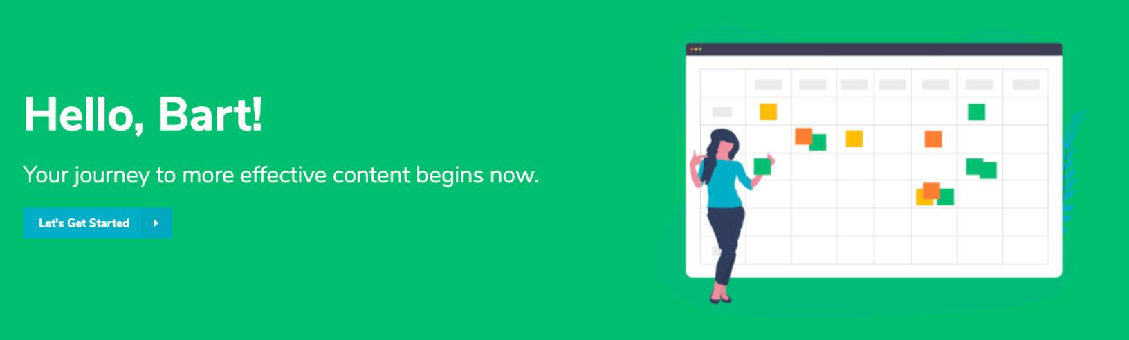 Cobomba Welcome Screen: Screen shot encouraging user to begin planning effective marketing content