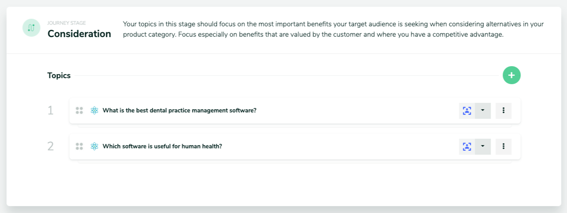 Screen shot showing two content topic suggestions for the consideration stage of the customer journey