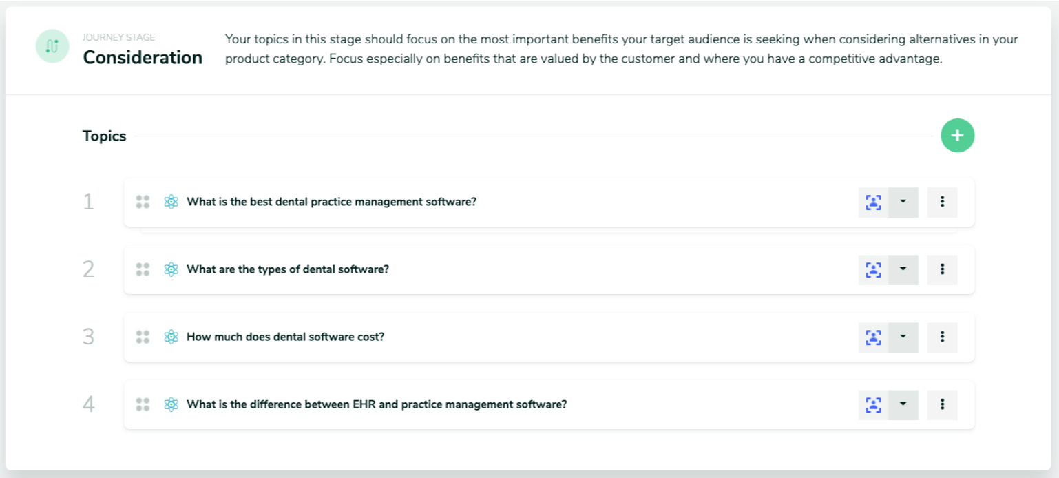 Screen shot showing four topics listed for the consideration stage of the customer journey related to a dental software example