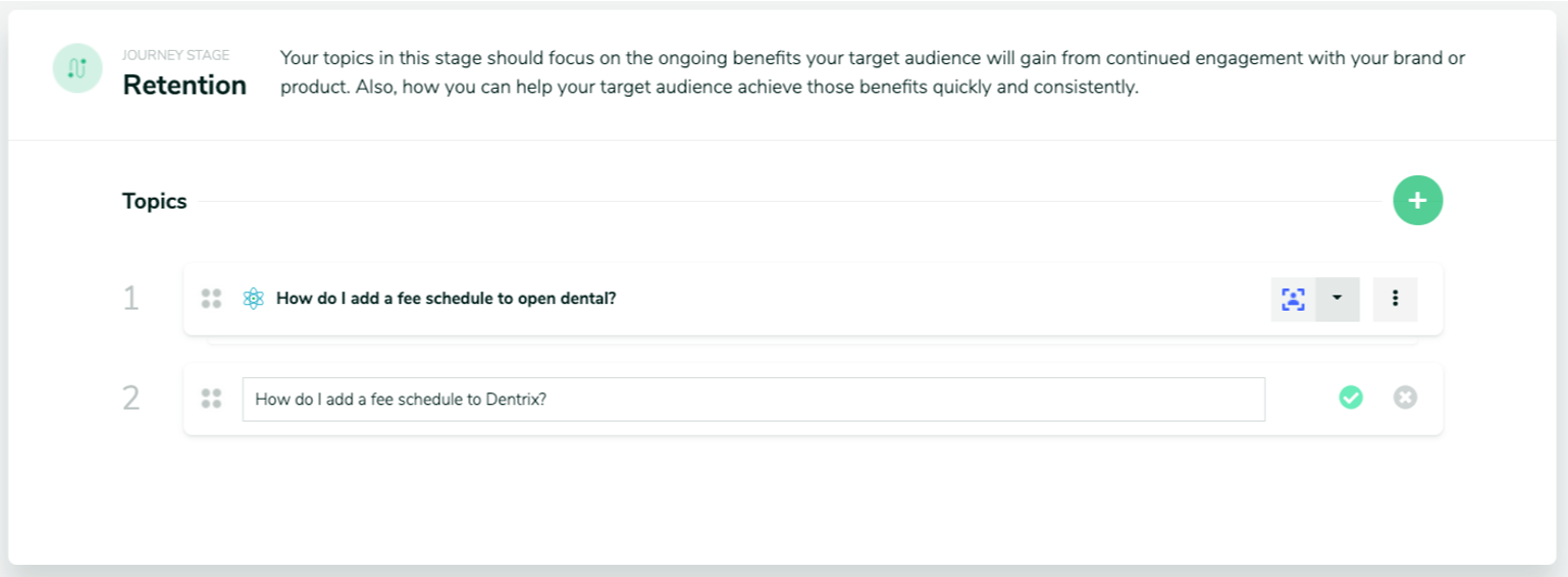 Content topic card for the retention stage of the customer journey: Example illustrating a write-in topic based on modifying a content topic explorer recommendation
