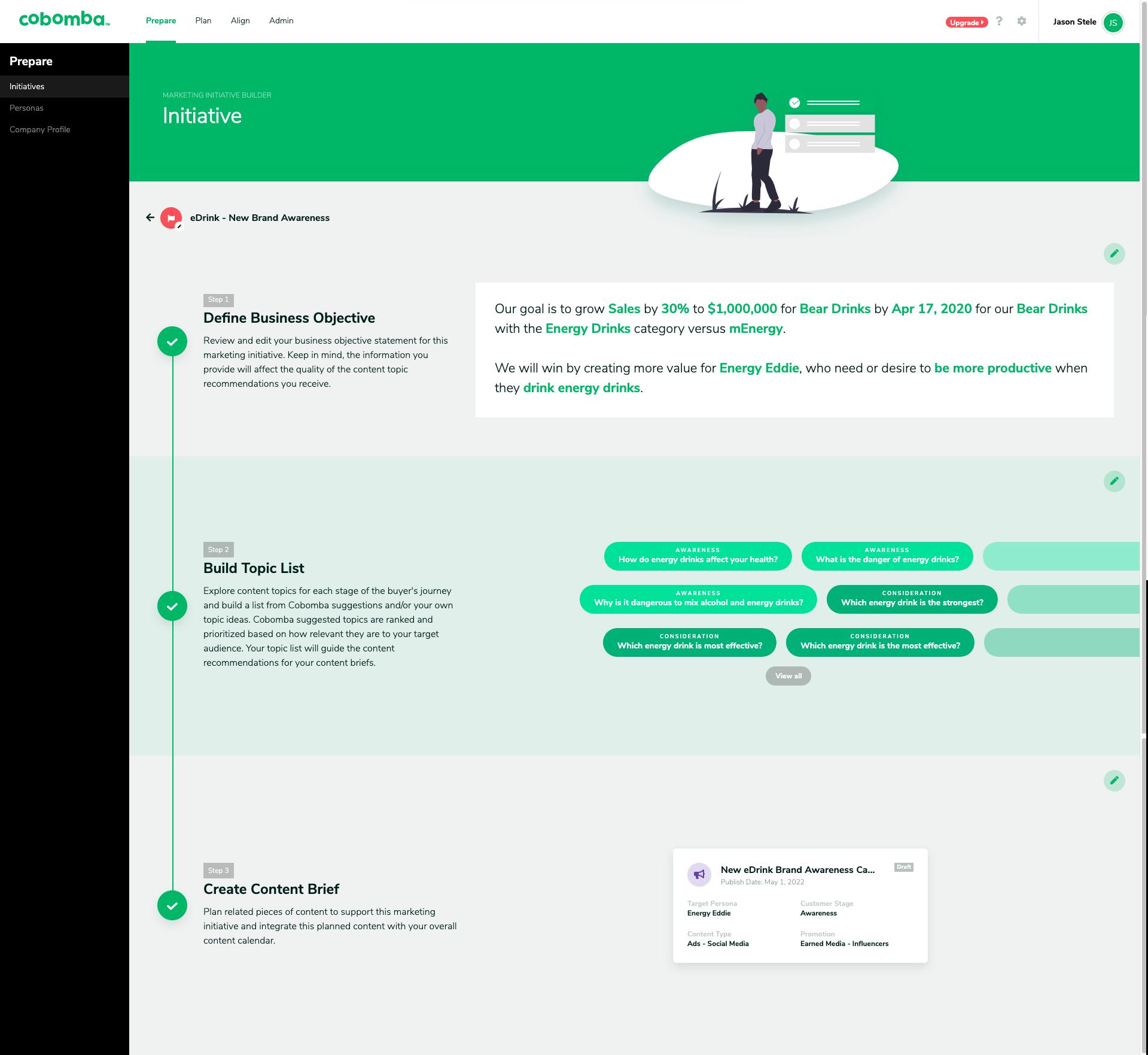 Cobomba Marketing Planning Platform driven by AI
