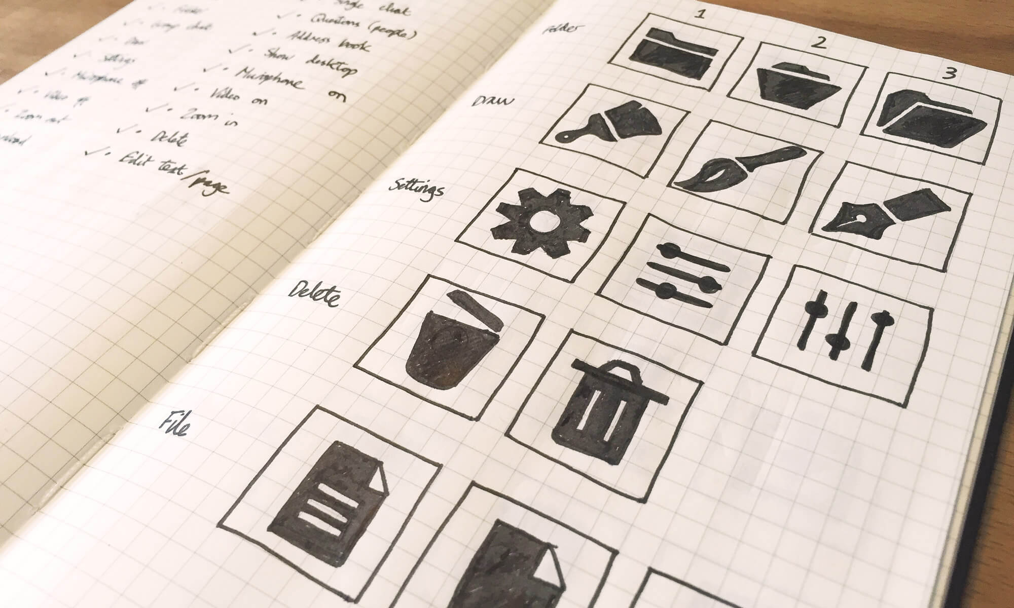 Sketching out a few options for each icon.