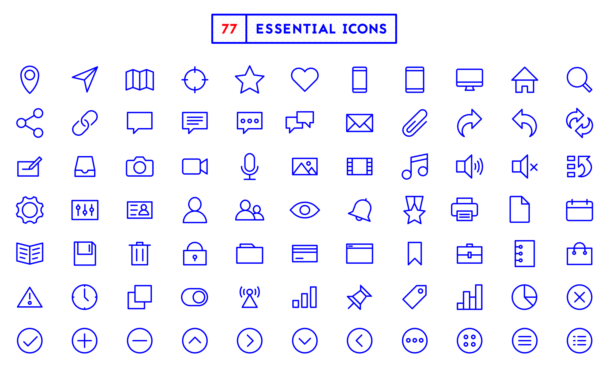 All of the 77 essential icons
