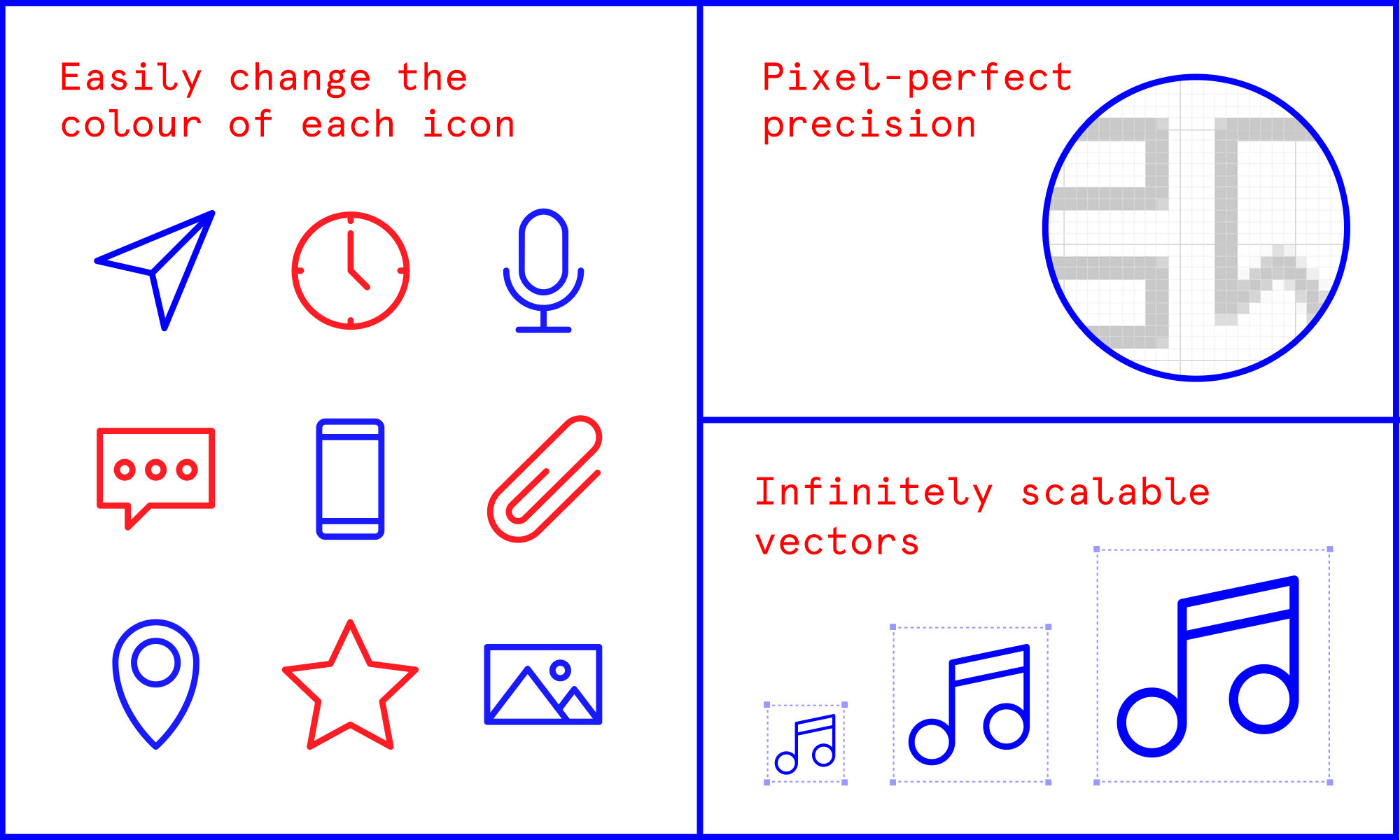 The icons are customisable and pixel-perfect