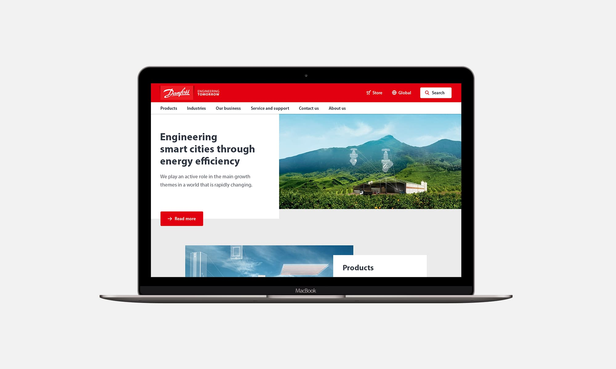 The updated Danfoss homepage