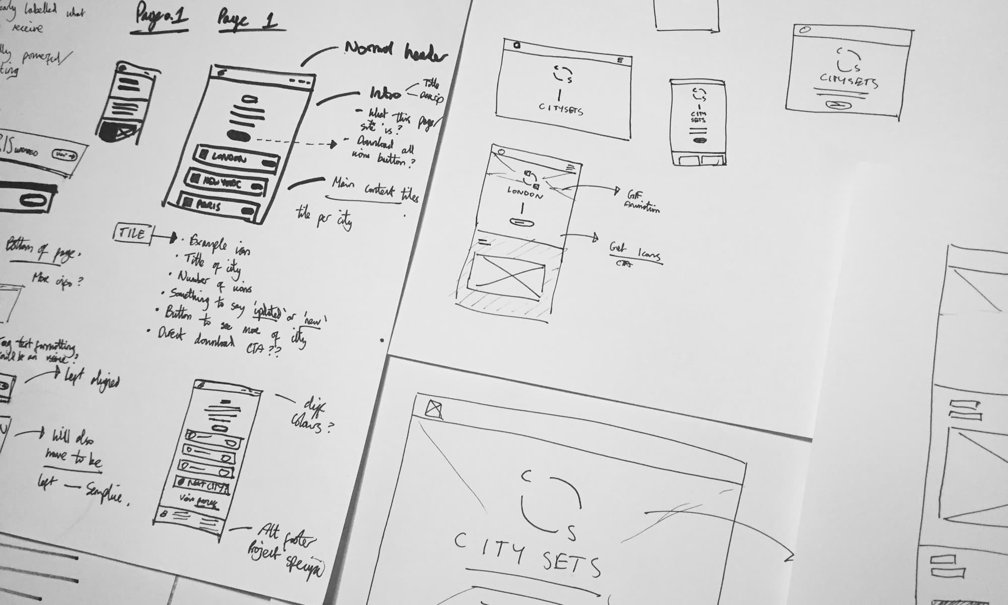 Initial sketching for the Citysets online experience
