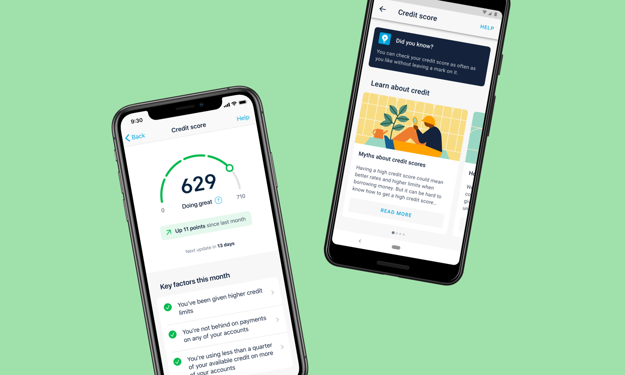 Two screens of the credit score interface shown on device