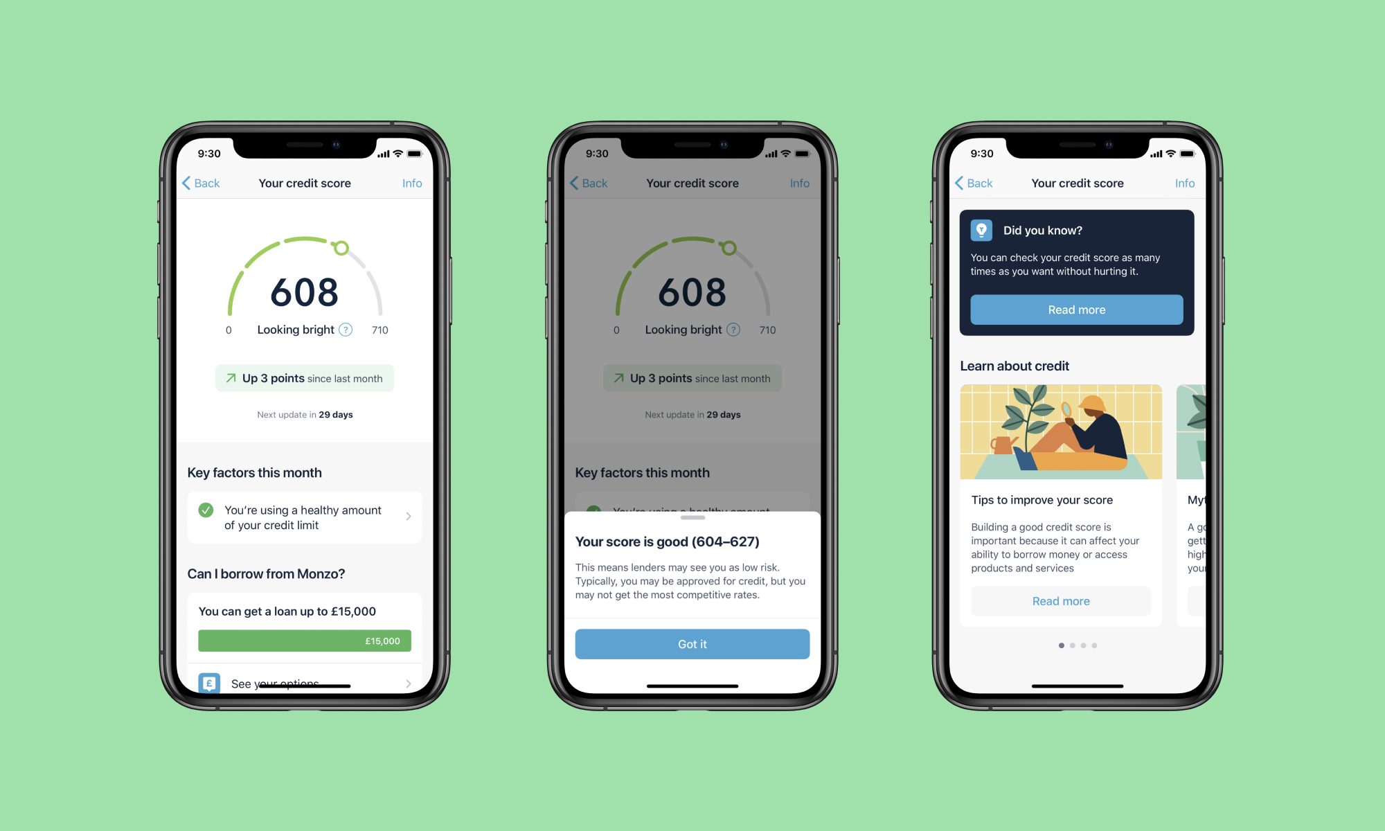 Some of the final iOS designs of the credit score feature.