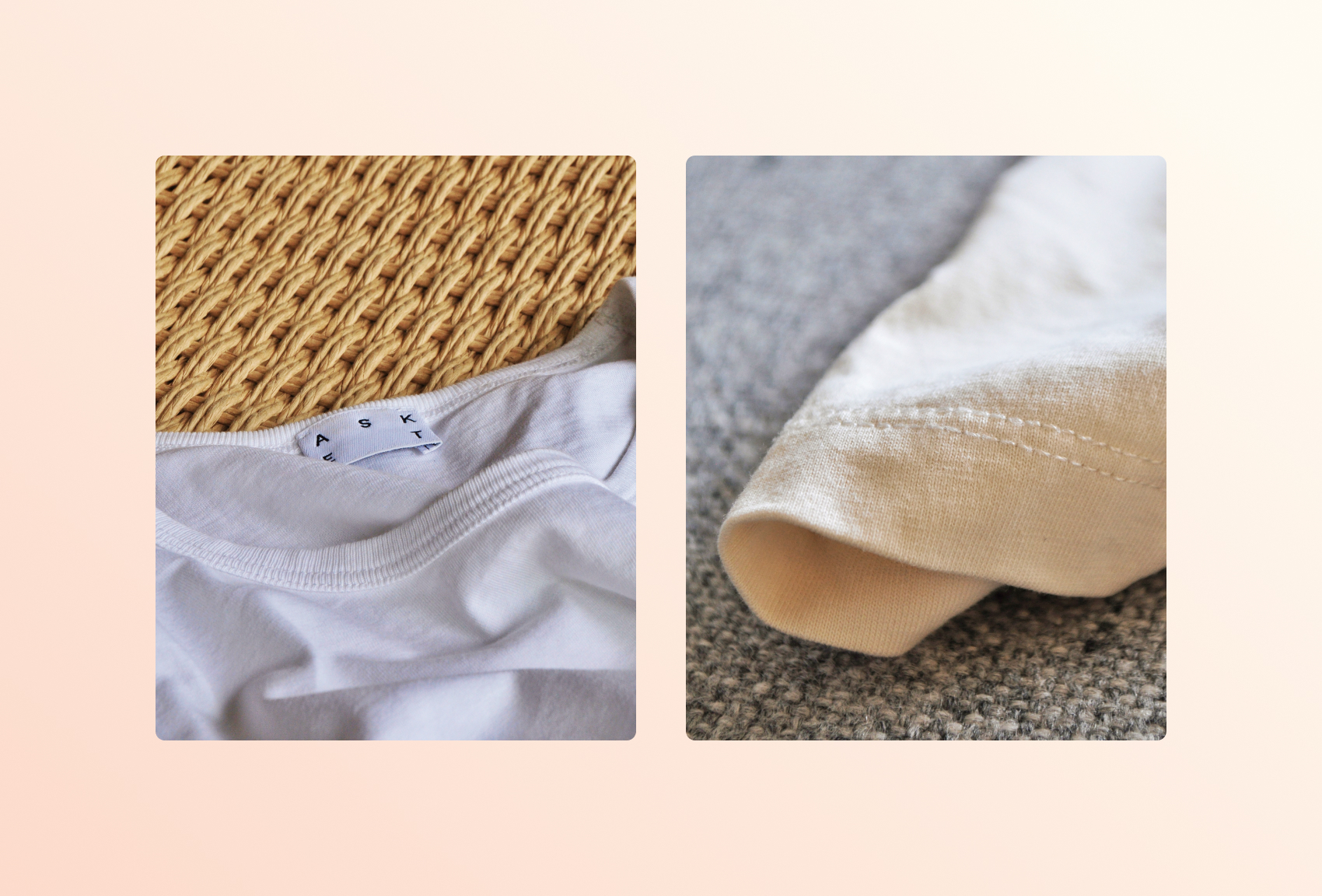 Two close-up photos of garments